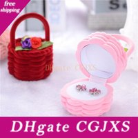 Wholesale gift basket boxes for sale - Group buy Creative Flower Basket Ring Earring Necklace Jewelry Box Basket Velvet Gift Storage Case Display mm Za4959