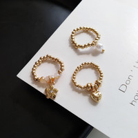 Wholesale beaded flower rings resale online - Fashion Trendy Korean Handmade Small Flowers Love Heart Rice Beaded Ring For Women Girl Jewelry Stretch Weave Style Rings