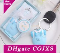 Wholesale baby boys party clothes for sale - Group buy 100pcs New Arrival Baby Shower Favors And Gift Cute Baby Clothes Key Chain Blue Themed Keychain For Boy