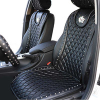 Wholesale rivet covers resale online - Leather Car Seat Cover Diamond Crown Rivets Auto Seat Cushion Interior Accessories Universal Size Front Seats Covers Car Styling