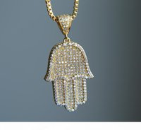 Wholesale plastic beaded necklaces resale online - 2017 High Quality Hip Hop Bling Box Chain quot Women Men Couple Gold Silver Color Iced Out Hamsa Hand Pendant Necklace With Cz J190517