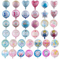 Wholesale 18 inch Baby Balloons 50pcs lot Baby Boy & Girl Aluminium Foil Balloons Baby First Birthday Party Decorations