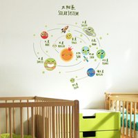 Wholesale wall decal sofa resale online - Luminous Solar System Small Universe Planet Wall Stickers Home Decor Living Room TV Sofa Backdrop Mural Decal