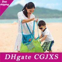 Wholesale mesh storage bag resale online - Large Capacity Children Beach Bags Sand Away Mesh Tote Bag Kids Toys Towels Shell Collect Storage Bags Fold Shopping Handbags Lx1506
