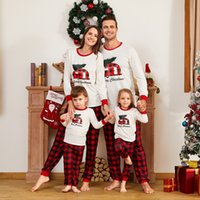 Wholesale family matching pajamas resale online - Family Matching Clothes Family Matching Outfits Merry Christmas Pajamas baby plaid romper adult pajama party set Daddy Mommy And Me Clothes