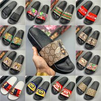 Wholesale leather bedroom slippers for sale - Group buy With Box Women Man Slippers Flat Slides Sandals Flip Flop Summer Shoes Fashion Slip Slippers Designer Beach shos Bedroom shoes GFFF0099