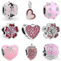 Wholesale pandora holiday charms for sale - Group buy 2018 new european pc silver pink heart round flower bow strawberry diy bead fit pandora charm bracelet D045