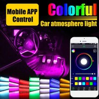 Wholesale car foot led resale online - 72 Led Car Foot Ambient Light With USB Cigarette Lighter Music Control App RGB Automotive Interior Decorative atmosphere Lights