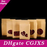Wholesale kraft paper bags windows for sale - Group buy 16 cm Cookies Nuts Gift Packaging Bags Stand Up Kraft Paper Boxes With Heart Shape Clear Window Pocket Za4018