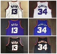 Wholesale top purple basketball jerseys resale online - Top Quality Vintage Basketball Jerseys Nash Barkley Embroidery Stitched College Jersey White Purple Black Size S XL