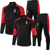 Wholesale ibrahimovic training suit resale online - 20 AC SOSO Soccer training suit CALHANOGLU jacket Milan Polo survetement football tracksuit IBRAHIMOVIC PAQUETA Sportswear