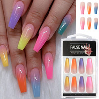 Wholesale black false nail for sale - Group buy 20pcs set Acrylic Candy Color Finish Nail Art Tips Colorful Fake Nails Artificial False Nails With Glue Rainbow Gradient Color