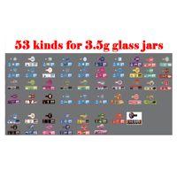 Wholesale flower glasses resale online - 3 g Flowers Glass Jar label Cookies Honey Bun Pancakes Pomelo Blanco jungle boys runtz Stickers Sharklato stikcers ml oz Glass Jar
