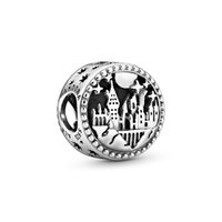 Wholesale 925 round bead resale online - 2020 New Sterling Silver Harry Potter Hogwarts School of Witchcraft and Wizardry Charms Beads Fit Pandora Bracelets for DIY Jewelry make