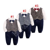 Wholesale baby boys party clothes for sale - Group buy Newborn Baby Boys Romper Bow Tie Gentleman Long Sleeve Jumpsuit Romper Brithday Party Toddler Kids Clothes Tuxedos Bowtie Outfits D81204
