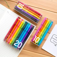 Wholesale plastic retractable pens resale online - KACO Black Colored Ink Retractable Gel Pens Set for Kids Adult Coloring mm Extra Fine Point Cute Stationery Y200709