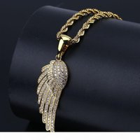 Wholesale angel wings pendants resale online - Fashion Women Jewelry Angel Wings Pendant Necklace Gold Silver Color Plated Iced Out Full CZ Stone Best Gift Idea