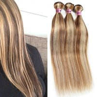 Wholesale brown highlighted hair resale online - Nami Brown and Blonde Highlight Color Ombre Human Hair Bundles With Closure Frontal Piano Color Straight Body Wave Hair Extensions