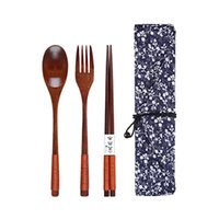 Wholesale brown forks resale online - Portable Tableware Wooden Cutlery Sets with Useful Spoon Fork Chopsticks Travel Gift Dinnerware Suit with Cloth Bag