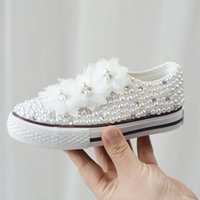 Wholesale white girl shoes pearls for sale - Group buy Children s Spring Autumn Lolita Primary School Students White Pearl Flowers Girls Board Shoes Lady Princess Wi