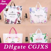 Wholesale heart plastic bags for sale - Group buy Portable Flower Printing Shopping Bag Plastic Thicken Gift Packaging Bags Clothing Storage Pouch Handbag Flamingo Heart Pattern yl3 Bb