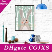 Wholesale animal foxes resale online - Cartoon Animal Paintings Children Room Cute Bear Fox Rabbit Paintings Decoration Paints Living Room Decor No Frame Paintings Bc Bh1376