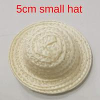 Wholesale mini hat diy resale online - Small DIY straw handmade flower toy weaving craft CM decoration doll DIY mini straw hat small hat htqa