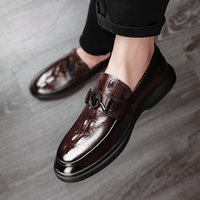 chaussures pour hommes occasionnels d'affaires confortable achat en gros de-Véritable Hommes Chaussures en cuir motif crocodile Comfy Slip On Mocassins Mens Casual Oxford Business Confortable Flats Homme Mocassins