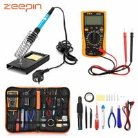Wholesale 23 in Soldering Iron Tools Set for Various Electronic Devices Temperature Multimeter Pen Desoldeirng Pump Welding Tool EU Plug aZEa