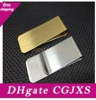 Wholesale money clippers resale online - Stainless Steel Brass Money Clipper Slim Money Wallet Clip Clamp Card Holder Credit Name Card Holder