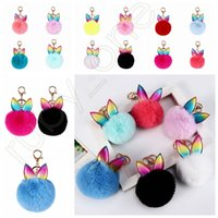 Wholesale metal favor bags for sale - Group buy Creative Rabbit Ear Keychain Soft Fur Ball Lovely Gold Metal Key Chains Pom Pom Plush Keychains Bag Car Keyring Party Favor RRA3627