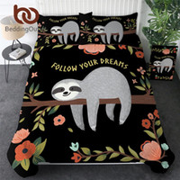 Wholesale leaf bedding sets for sale - Group buy BeddingOutlet Folivora Bedding Set Queen Floral Cartoon Kids Duvet Cover Tree Leaf Bed Linen Sloth Animal Bedspreads Dropship