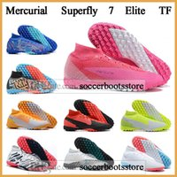 Wholesale high ankle superfly football boots resale online - GIFT BAG Mens High Ankle Football Boots CR7 Mercurial Superfly Elite TF Soccer Shoes SuperflyX VII Neymar ACC Indoor Soccer Cleats