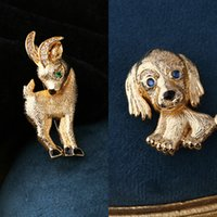 Wholesale small gold brooches for sale - Group buy Copper gold plated small animal brooch antelopepuppy giraffe cat coat pin accessories Accessories sweater Coat sweater UAgGx