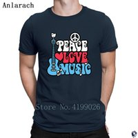 Wholesale love costume men for sale - Group buy Peace Love Music in Red tshirt Costume slogan personalized Summer Style T Shirts for men Classical Tee top big sizes Anlarach