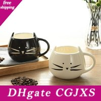 Wholesale black white cat mugs resale online - Cartoon Cat Coffee Mugs With Handle Black And White Color Ceramic Drinks Tumbler Water Cups Creative For Lovers Kids Gift fy J