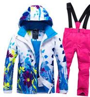 Wholesale kids winter sport wear resale online - Kids Girls Ski Suit Snowboard Jacket Pant Flower Style Winter Clothing Trouser Windproof Waterproof Outdoor Sport Wear Skiing
