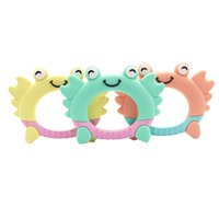 Wholesale blue crab toy resale online - 2020 Bpa Free Yellow Blue Black Orange Animals Cute Crab Shaped Teething Toy Baby Soft Silicone Teether for Babys