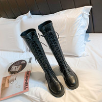 Wholesale Brand New Women Designer Shoes In Stock Women Boots Boots Lace Up High Leather Boots But Knee Warm Knight Shoes