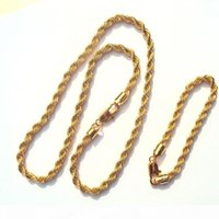 Wholesale 14 inch gold chain resale online - quot xupinp Chain mm k Yellow Solid Gold Filled Thick Twisted Braided Mens Hip Hop quot Inch Necklace and bracelet Set Select