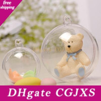 Wholesale fiber foods resale online - Christmas Hanging Ball Plastic Clear Ornaments Ball Xmas Decoration Transparent Wedding Party Decoration Openable Food Grade