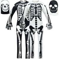 Wholesale one piece skull hat for sale - Group buy Fortnite ins explosion skull long sleeved one piece romper hat children s Halloween costume Kids Clothing Cosplay Baby Kids
