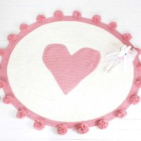 Wholesale hot pink blanket resale online - Pink Hot Knitted Blanket High Quality Acrylic floor carpet girls room decoration blanket PInk Heart Mat Girls Room