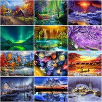 Wholesale houses lake painting for sale - Group buy DIY D Diamond Painting House Full Round Drill Mosaic Diamond Embroidery Cross Stitch Kits Rhinestones Landscape Lake Home Decor