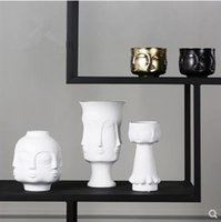 Ceramic face model vase, creative art crafts, home desk decoration, modern furnishings gifts