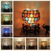 Wholesale retro glass table lamp for sale - Group buy Bohemia Bedroom Bedside Table Lamp Bar Restaurant Color Glass Decoration Retro Lamp