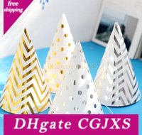 Wholesale cone party hat for sale - Group buy 500pcs Happy Birthday Funny Party Cone Hat New Years Caps Gold Silver Stripe Elastic Neck Straps For Children Adults