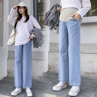Wholesale maternity jeans resale online - 6911 Maternity pants Spring Autumn Maternity Jeans Belly Support Loose Pants Support Abdomen Elastic Waist Trousers