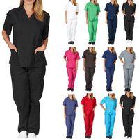 Wholesale button nurse uniform resale online - Womens Two piece Work Clothes Nursing Uniforms Scrubs Clothes Fashion Ladies Short Sleeved Tops V neck Shirt Pants Hand Clothing