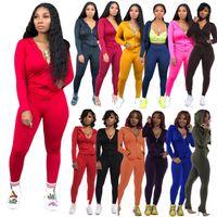 Wholesale pant suit prices resale online - autumn and winter new solid color long sleeve zipper coat slim pants two piece suit for women Surprise price